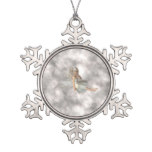 Angel in the Clouds Snowflake Pewter Christmas Ornament