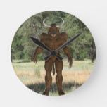 Greek Minotaur Round Clock