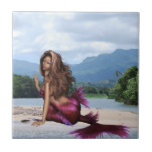 Mermaid on a Sandbar Ceramic Tile
