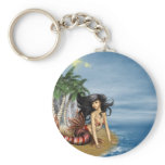 Mermaid on Beach Keychain