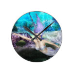 Mermaid Swimming Round Clock
