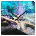 Mermaid Swimming Square Wall Clock