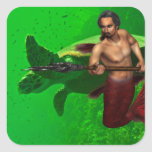 Merman with Sea Turtle Sticker