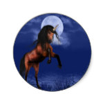 Moonlit Unicorn Classic Round Sticker