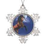 Moonlit Unicorn Snowflake Pewter Christmas Ornament