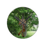 Piping Satyr Round Clock