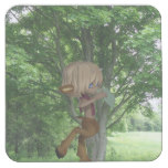Piping Satyr Square Paper Coaster