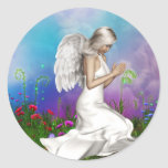 Praying Angel Classic Round Sticker