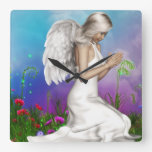 Praying Angel Square Wall Clock