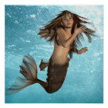 Swimming Mermaid Poster